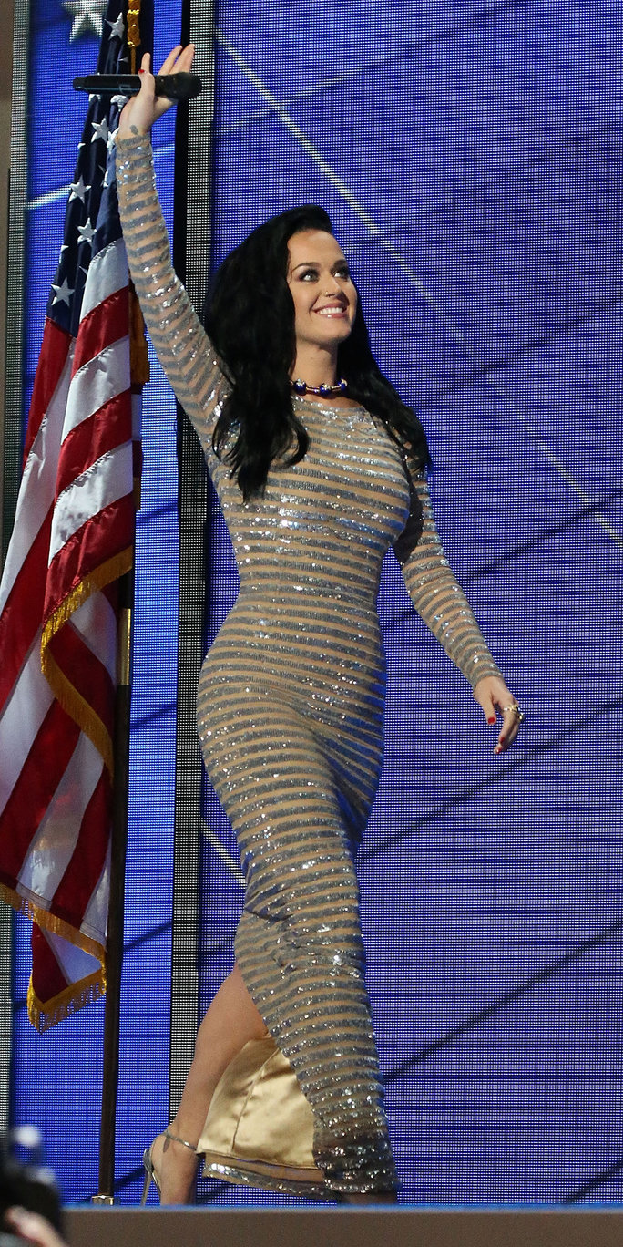 Katy Perry Glows in Bulgari Stars & Stripes Choker from Eleuteri at a Roaring DNC Performance
