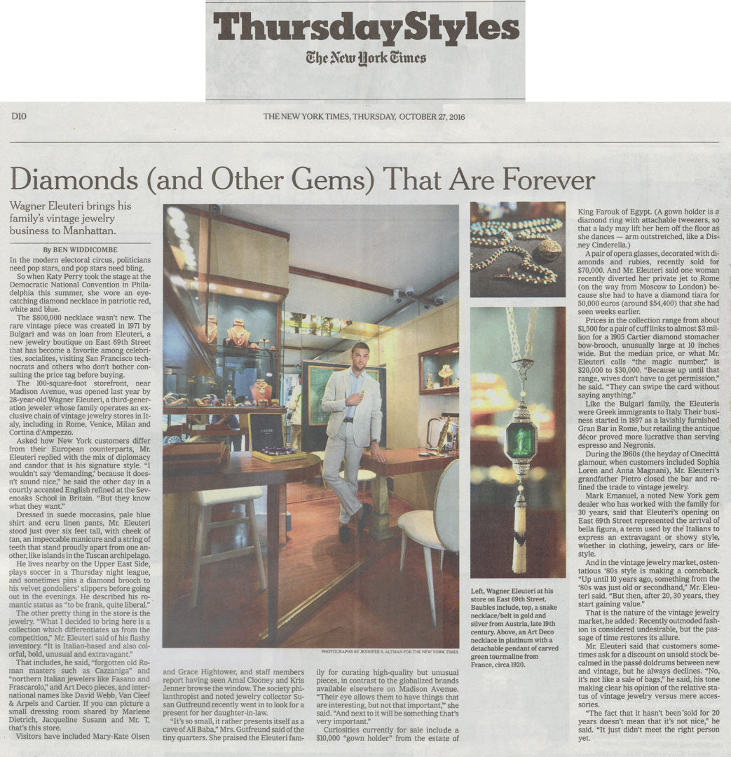 New York Times – Eleuteri, a Vintage Jeweler, Brings Italian Glamour to New York